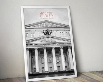 The Bolshoi Theatre, Moscow, Polygonal Poster Design, Black and White Art, B&W, Digital Artwork, Wall Decor