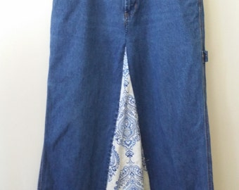 Women's Reconstructed Long Denim Skirt, Size 8