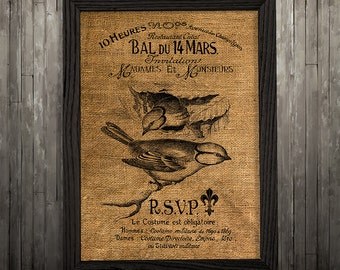 Birds print Burlap art Bird poster Wildlife print BLP3