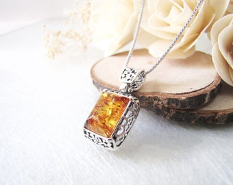 Honey Baltic Amber Necklace, Natural Poland Amber Pendant, Filigree Silver Frame and Bail, Amber Pendant, Light Brown Honey Amber Choker
