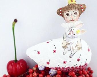 Handmade Doll brooch Hand painted brooch Little Princess brooch for girl