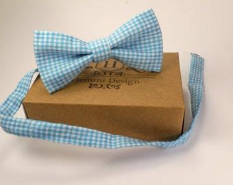 White - Blue Linen Bow Tie For wedding /  Perfect forToddler / Boy's / Groomsmen