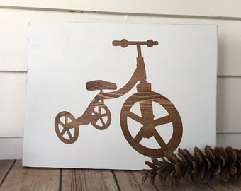 Tricycle Nursery Child's Room Playroom Wooden Sign Neutral Home Decor Wall Hanging Modern Art Baby Shower Gift