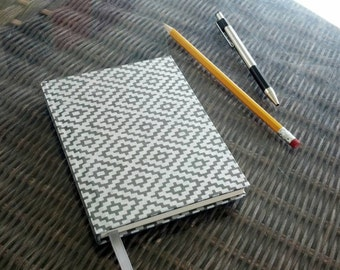 Silver Rhombus Pattern Small Handmade Hardcover Journal - 4.25x5.5 - Lined, 80 pages - Ribbon page marker