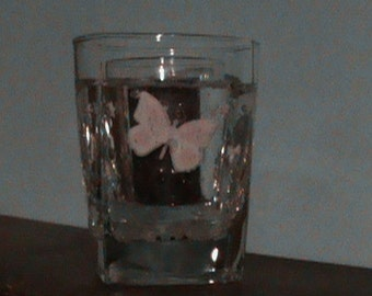 Pink and White Butterfly Forever Candle Holder