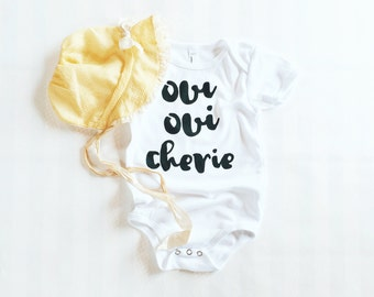 oui oui cherie onesie by jupe & olive, made in USA