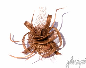 Brown metallic Classic Flower Fascinator  Clip and Brooch
