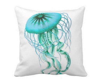 "Colorful Jellyfish Turquoise/Aqua 16 or 20"" Pillow Cover, Beachy Sea Life/Nature Illustration Pillows/Covers"