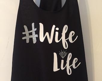Hashtag WifeLife Black Racerback Tank