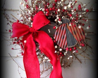 Lady Bug -  Red and Cream Very Berry Wreath