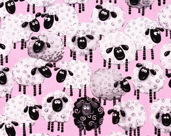 Sheep printed Cotton Fabric, Susybee for Hami Textiles by the Half Yard