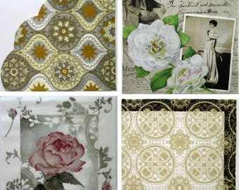Paper napkins, decoupage serviette, four different designs