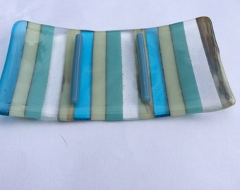 Turquoise, blue and white striped fused glass soap dish