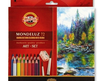 Mondeluz 3714 72 48 36 aquarell watercolor colored pencils set Koh I Noor colour crayon water soluble artist drawing painting new kohinoor
