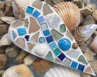 Cornish blue sea glass heart plaque/hanger made in Cornwall