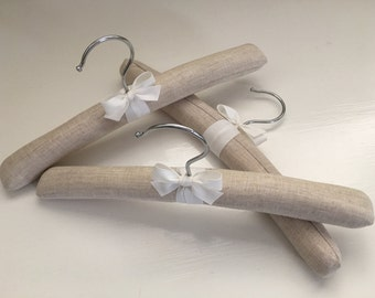 Children's Hangers, Flax Linen Hangers, Baby Hangers, Padded Hangers, Linen Hangers, Baby Shower, Nursery Decor, Handmade, Set of 3 or 6