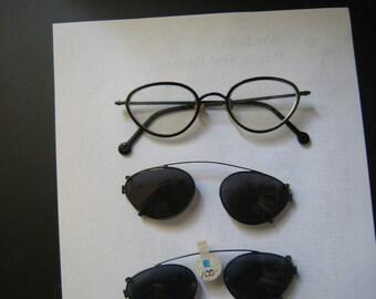 LA Eyeworks green cat's eye UMA glasses with 2 new clips