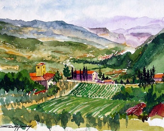 Rufina, Italy vineyard landscape watercolor giclee print, olive groves, Tuscany, Apennines