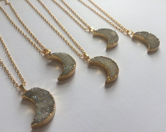 Druzy moon necklace Druzy Necklace / moon necklace / crescent moon / gold moon / druzy agate / gold plated / luna / boho / bridesmaid gift