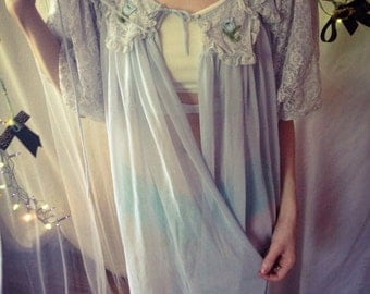 Full length blue sheer vintage robe