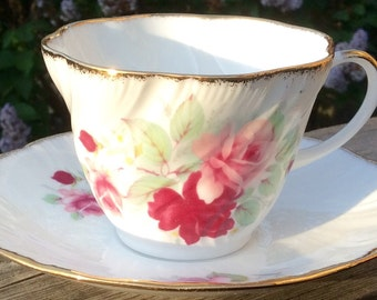 Pretty in Pink-Royal Minster Pink Roses on White Teacup and Saucer