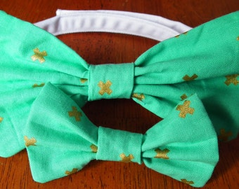 Childrens Sea foam green with gold accent Bow tie