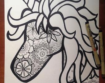9x12 Unicorn Handmade Zentangle Drawing