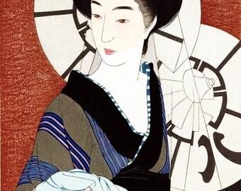 Ukiyo-e reprint,Preboarded,a lady,Torii Kotondo,woodblock,decor,Japanese,tk11