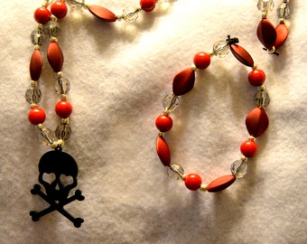 Skull and Crossbones Necklace and bracelet