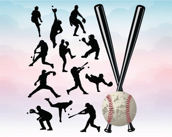 Baseball silhouettes in vectors, Sg, Pdf, Ai, Dxf, Eps, Png files for cutting, Baseball designs for cameo cricut crafts