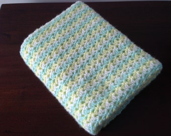 Mint Green, Pale Yellow and Cream Baby Blanket