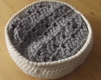 Crochet newborn prop basket with blanket/filler, handmade baby basket and blanket