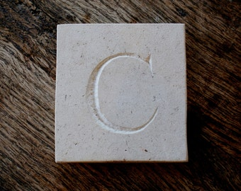 Letter 'C' Hand Carved In Beautiful White Portland Stone Standing Stone Fossil Tablet Everlasting Wedding Christening Gift Personalised Art