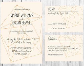 Printable Gold Geometric Wedding Invitation Suite - The Marnie