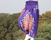 Free Shipping Satin Jumpsuit for women handmade/ comfortable and trendy beach wear in indian peacock print , Very soft and strenchy 1012