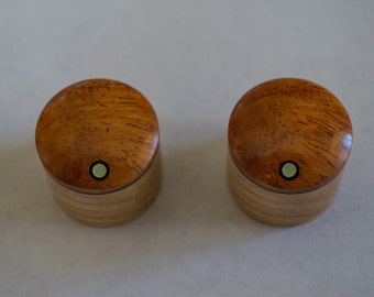 Amboyna on Ash Set of 2 custom wood guitar knobs