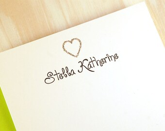 Personalized Stationery Set, Cute Stationery for Girls, Flat Thank You Note Cards, Stationary for Tween, Heart Custom Stationery, set of 12