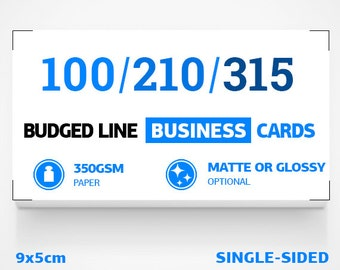 Budged line business cards. Optional matt or glossy foil. 350gsm paper