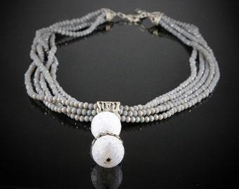 Aquamarine and crystal silver plated materials necklace custom designed originally necklace handmade