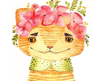 Cat Print Art Spring Print Art Sammer Flowers Print Art Red Cat Print Watercolor Animal Print Art Watercolor Bright Watercolor Print