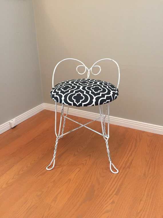 Vintage Metal Vanity Stool Antique Retro Chippy Paint Chair