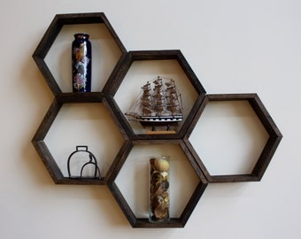 Wooden Honeycomb Hexagon Shelves, Handmade Wall Decor Sets, Rustic Hanging Shelves, Geometric Shelving