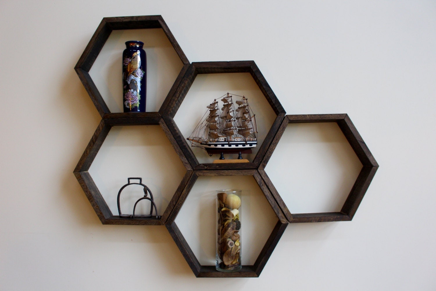 Wooden Honeycomb Hexagon Shelves Handmade Wall Decor Sets