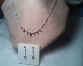 Choker silver Czech crystal matching earrings (bohemia)
