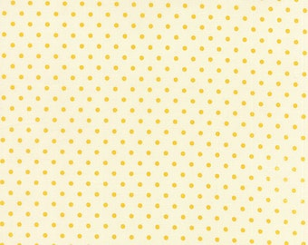 1 Yard Yellow Polka Dot on ivory (nearly white) Bread n Butter by American Jane for Moda fabrics, 21697-15
