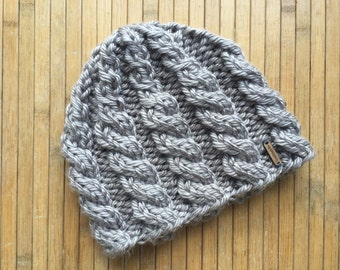 Grey cable hat