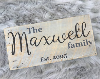Rustic barn wood established family Sign
