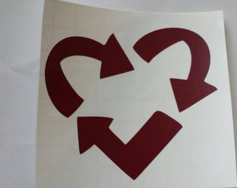 Recycle Decal, Heart Sticker, Love Decals, Save the Earth, Stickers, Go Green