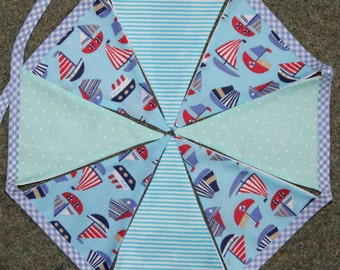 Boys nursery bunting with boats, stripes and dots, handmade, double-sided