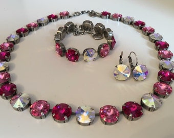 Swarovski crystal pink and ab necklace, bracelet, and earrings set